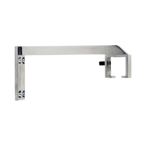 "Square Zip 6"" Return Bracket Polished Aluminum 1"" Scale"