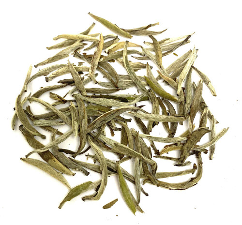 Most famous Chinese white tea buds.  Silver Needle.