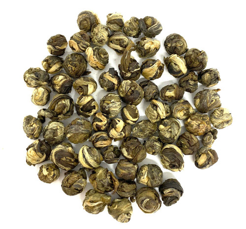 Best Chinese hand-rolled, jasmine  scented green tea pearls.
