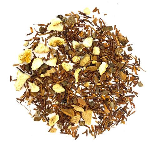 Rooibos based caffeine free chai tea blend.