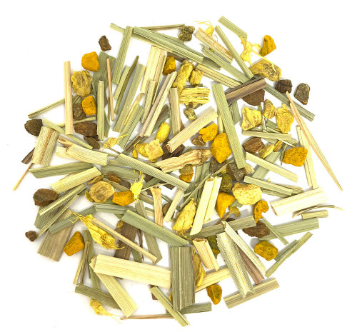 Caffeine-free turmeric and ginger based herbal tea blend.