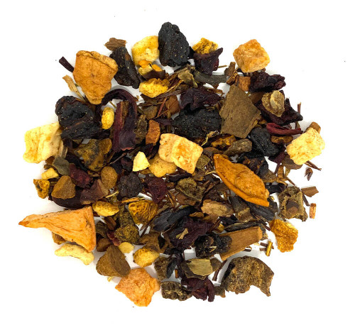 Caffeine-free herbal blend  with cinnamon apple spice notes.