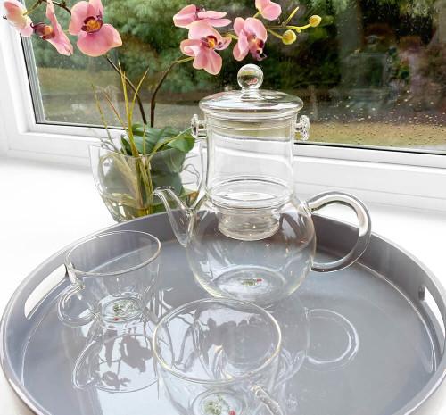 Glass teapot, brewer and two cups tea set.  Best glass teapot.