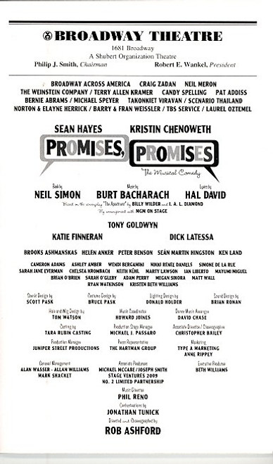 Promises, Promises (Sept 2010) -Sean Hayes, Kristin Chenoweth - Broadway Theatre