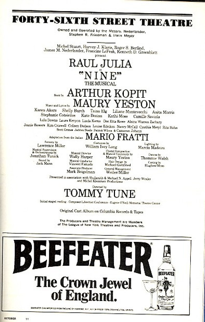 Nine (Mar 1983) Raul Julia, Karen Akers, Shelly Burch Forty-Sixth Street Theatre
