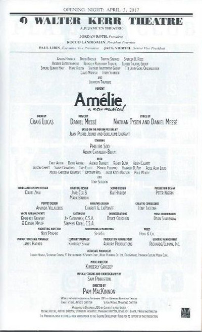Amélie is a musical based on the 2001 romantic comedy film with music by Daniel Messé, lyrics by Messé and Nathan Tysen and a book by Craig Lucas