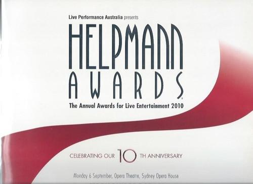 Helpmann Awards 2010, Souvenir Program - Australia, The Helpmann Award is an accolade presented by Live Performance Australia (LPA) (the trade name for the Australian Entertainment Industry Association