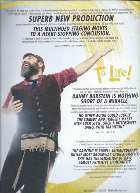 Fiddler on the Roof 2015 Broadway Revival, Souvenir Brochure/ With Tony Voter Slip Jacket,   Broadway Theatre Danny Burstein, Jessica Hecht, Adam Kantor
