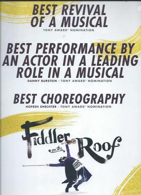 Fiddler on the Roof 2015 Broadway Revival, Souvenir Brochure/ With Tony Voter Slip Jacket,  Broadway Theatre Danny Burstein, Jessica Hecht, Adam Kantor