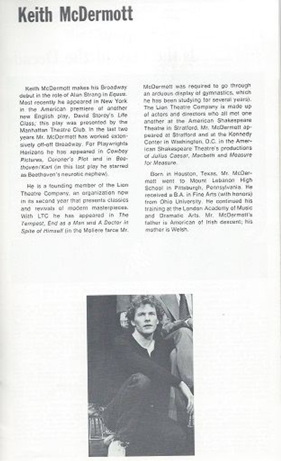 Equus on Broadway 1974 - 1977, Douglas Campbell, Keith McDermott, Dalton Dearborn, Equus is a play by Peter Shaffer written in 1973, telling the story of a psychiatrist who attempts to treat a young man who has a pathological religious/sexual fascination with horses.