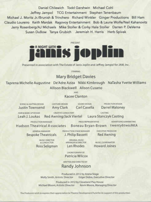 A Night with Janis Joplin (Musical) 2013 - 2014 Broadway, Mary Bridget Davies - Taprena Michelle Augustine, Souvenir Program, Broadway Musicals