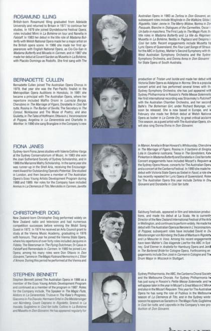 La Clemenza di Tito (Opera) Australian Opera, Souvenir Brochure - 1991 Bernadette Cullen, Rosamund Illing, Fiona Janes