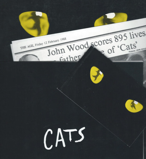 Cats (Musical) Debbie Byrne, John Wood, David Atkins, Souvenir Brochure 1986 Theatre Royal Sydney also includes, Program signed by John Wood, Newspaper Clip (From Melb Age 1988) and Ticket from Syd 1986