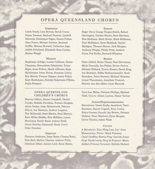 Turandot (Opera) by Giacomo Puccini, Souvenir Brochure 1996 Opera Queensland, Opera Program