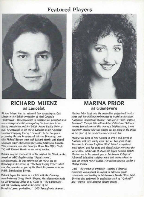 Camelot (Musical) Richard Harris, Richard Muenz, Marina Prior, Souvenir Brochure Date 1984, Camelot Program, Richard Harris Camelot Program
