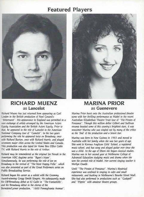 Camelot (Musical) Richard Harris, Richard Muenz, Marina Prior, Souvenir Brochure Date 1984, Camelot Program, Richard Harris Camelot Program