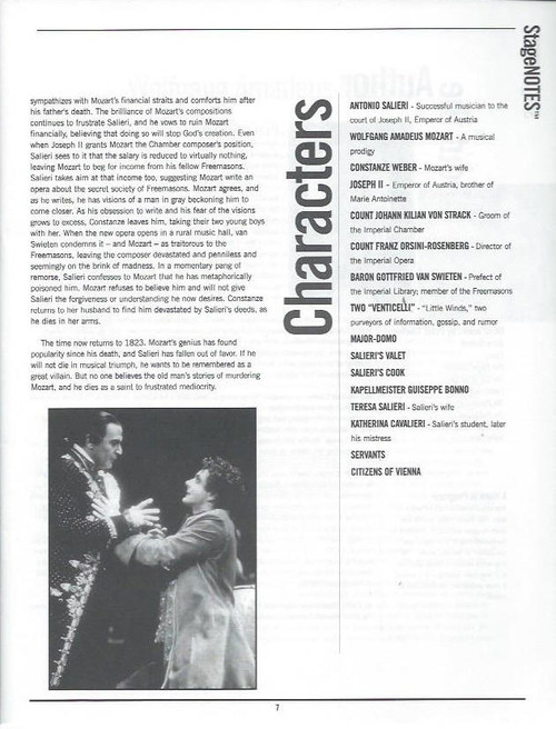 Amadeus (Play) A Guide for Teachers,  Stage Notes - A Field Guide for Teachers,a play by Peter Shaffer