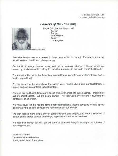 Dancers of the Dreaming (Dance/Culture) Narrator – Donald Binindjirri Wunungmurra, USA Tour 1995 Souvenir Brochure