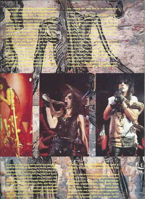 Alice Cooper Trash Tour 1989 (Concert) Alice Cooper, Souvenir Brochure 1989, Lots of Outrageous Pictures from Alice's Concerts