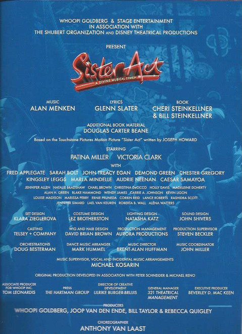 Sister Act (Musical) Patina Miller, Carolee Carmello, Alena Watters, Kingsley Leggs, Souvenir Brochure 230 x 330 mm with Tony Awards Slip on cover and, Producers letter to tony voter