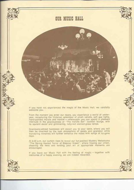 The Music Hall Theatre Restaurant - The Spring Heeled Terror of Stepheny Green, The Music Hall Theatre Restaurant - The Spring Heeled Terror(Musical) Reginald Gillam, Frank Lloyd, Beryl Cheers– Sydney Theatre Musica hall Souvenir Brochure
