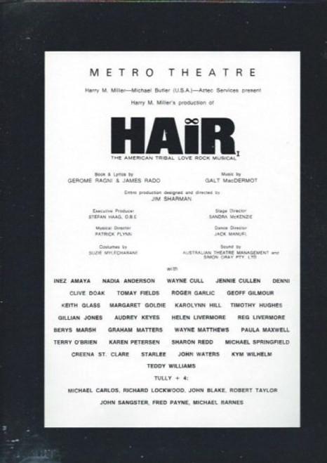 Hair (Musical) Reg Livermore,Keith Glass,Tomay Fields,Geoff Gilmore, Metro Theatre Sydney Australian 1969 Production Souvenir Brochure