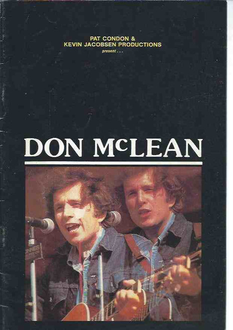 """Don McLean 1983 Tour, Donald """"Don"""" McLean (born October 2, 1945) is an American singer-songwriter. He is most famous for the 1971 album American Pie, containing the songs """"American Pie"""" and """"Vincent"""", Don Mclean Concert Program, Don McLean Program"""
