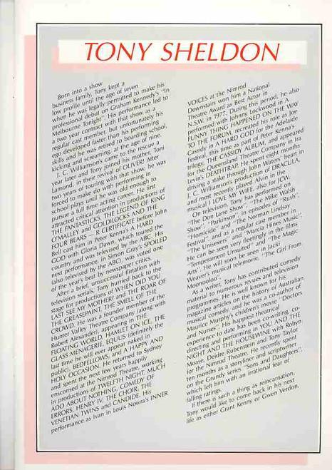 Torch Song Trilogy (Play) Tony Sheldon, Robert Alexander, Deborra-lee Furness - Australian Tour Production 1984 - Australian Theatre