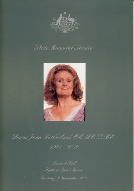 Joan Sutherland  State Memorial Service, 16 Pages Beautiful pictures and information on Dame Joan Sutherland 2010, Joan Sutherland memorabilia, Joan Sutherland programs, Joan Sutherland souvenirs