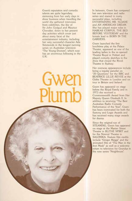 Steaming (Play), Gwen Plumb, Amanda Muggleton, Kate Sheil, Lynette Curran - 1982 Australian Production Melbourne