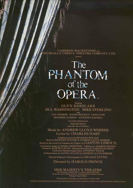 The Phantom of the Opera (Musical), Glyn Kerslake, Jill Washingon, Sarah Ryan, Mike Sterling, 1998 London Production