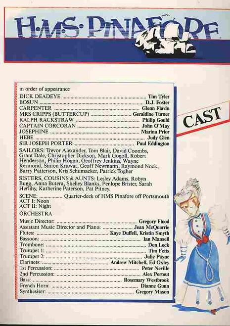HMS Pinafore (Opera), Paul Eddington, Geraldine Turner, John O'May, Philip Gould, 1987 Victoria State Opera Production Australia