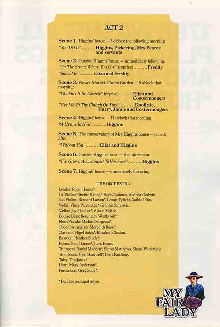 My Fair Lady (Musical), Lewis Fiander, Warren Mitchell, Noel Ferrier, Simon Gallaher, 1988 Australian Tour