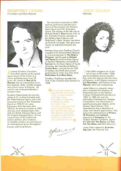 Man of La Mancha (Musical), Daryl Somers, Geoffrey Chard, Jodie Gillies - 1989 Australian Production