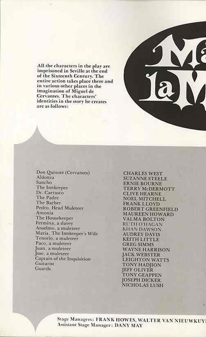 Man of La Mancha (Musical), Charles West, Suzanne Steele, Ernie Bourne, 1976 Australian Production Sydney Season