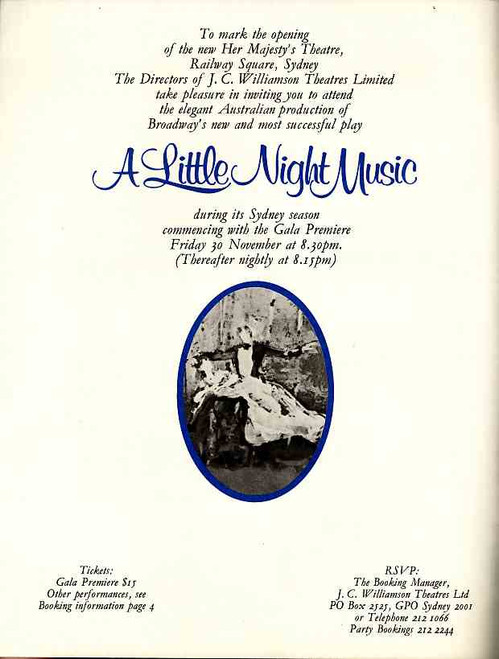 A Little Night Music (Musical), Taina Elg, Bruce Barry, Anna Russell, Her Majesty's Theatre Sydney Australia 1973