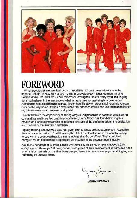 Jerry's Girls (Musical), Angela Ayers, Judi Connelli, Marcia Hines, Jeanne Little, Margi De Ferranti, 1987 Comedy Theatre Melbourne Australia Tour