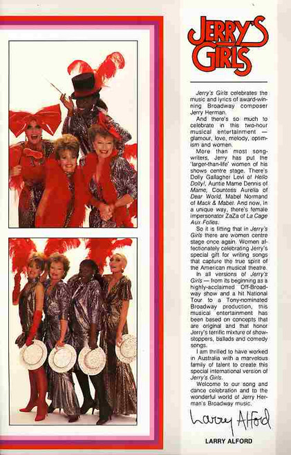 Jerry's Girls (Musical), Debbie Byrne, Judi Connelli, Marcia Hines, Jeanne Little, Lola Nixon, Edwina Cox - 1987 Australian Tour, Jerry Girls Program