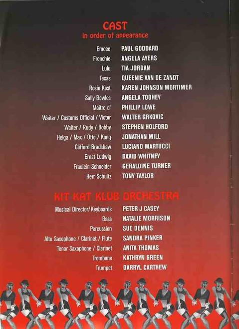 Cabaret (Musical), Angela Toohey, Paul Goddard, Tony Taylor, Luciano Martucci, David Whitney,  1997 Australian Tour