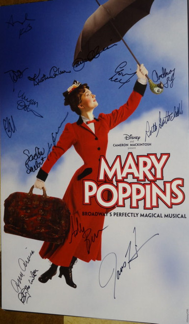 Mary Poppins poster, CAST SIGNED,  Directed by Richard Eyre, - New Amsterdam Theatre, Signed By Ashley Brown, Gavin Lee,  Ann Ariva, Kristin Carbone, Brian Letendre, Sean McCourt ,Ruth Gottschall and others