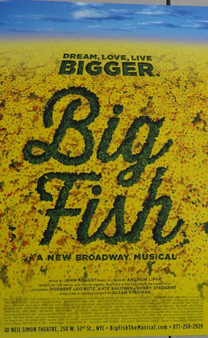 Big Fish (Musical) 2013, Norbert Leo Butz, Kate Baldwin, Bobby Steggert - Directed by Susan Stroman, Poster / Window Card