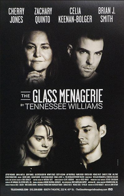 The Glass Menagerie (Play) Cherry Jones, Zachary Quinto, Celia Keenan-Bolger, Brian J. Smith, Play by Tennessee Williams, Poster / Window Card