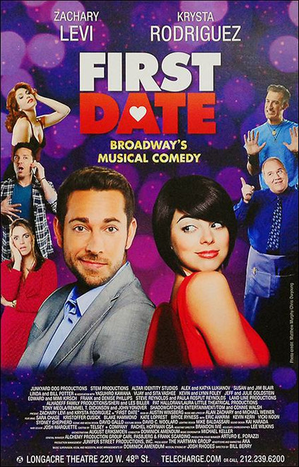 First Date (Musical) (2013), Zachary Levi, Krysta Rodriguez, Sara Chase, Bryce Ryness, Poster / Window Card