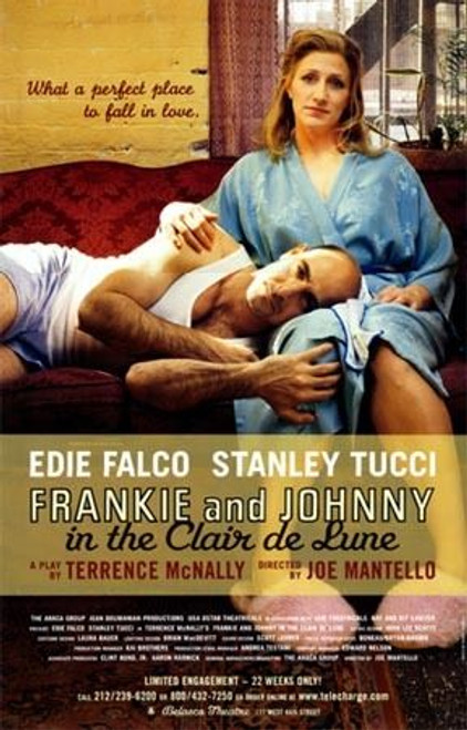 Frankie and Johnny in the Clair de Lune 2002, Starring Edie Falco, Stanley Tucci – Belasco Theatre, Poster / Window Card