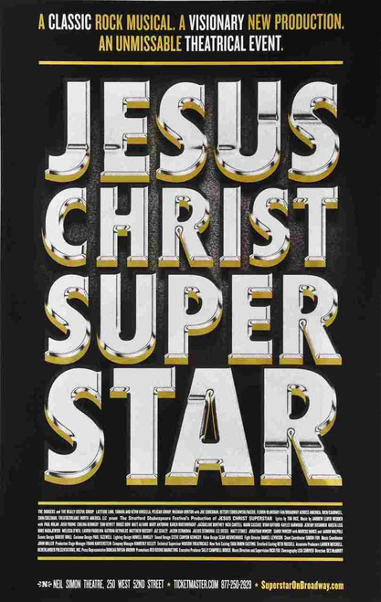 Jesus Christ Super Star (Musical) 2012, Josh Young, Paul Nolan, Matt Alfano, Bruce Dow, Poster / Window Card