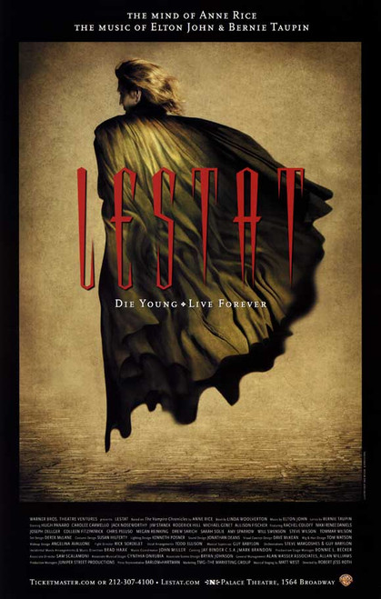 Lestat ( Musical) 2006, Hugh Panaro, Carolee Carmello, Drew Sarich , Jim Stanek  - Palace Theatre, Poster / Window Card