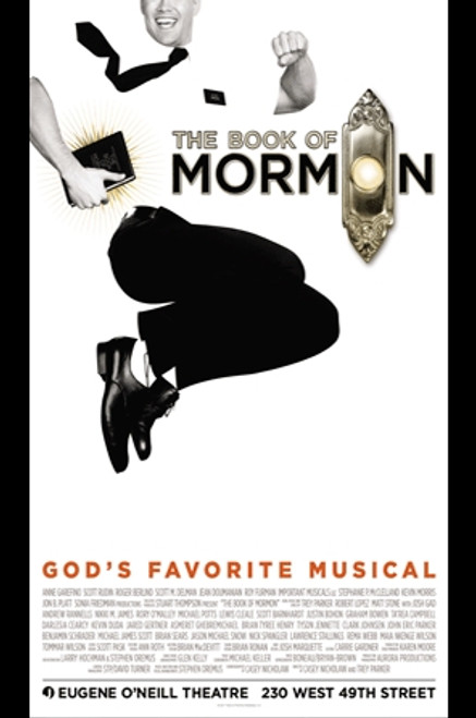 The Book of Mormon (Musical), OBC Andrew Rannells, Josh Gad, Nikki M James, Rory O'Mally (Gods Favorite Musical), Eugene O'Neill Theatre Poster / Window Card