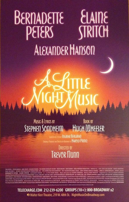 A Little Night Music (Musical), Starring: Bernadette Peters, Elaine Stritch, Erin Davie (2010 Production), Poster / Window Card