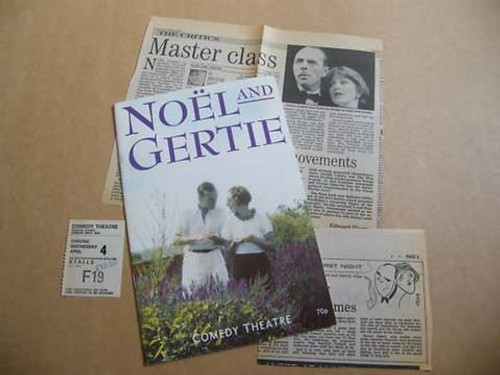 "Sheridan Morley play  ""Noël and Gertie"", about Noël Coward and Gertrude Lawrence, opened in London in 1983, starring Simon Cadell and Joanna Lumley, and ran for nine years. It was performed in the US with Twiggy in the lead role"