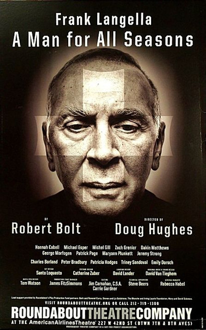 A Man for all Seasons (Play) 2008, Frank Langella, Hannah Cabell, Michael Esper, Poster / Window Card